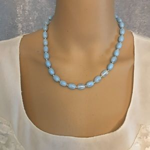 Light baby blue and gold oval beaded necklace